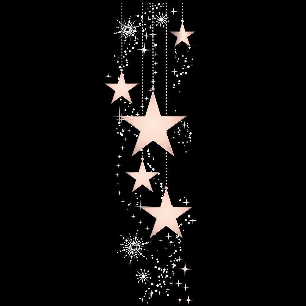 Vitrophanie suspension d'étoiles roses et cristaux - 32,3 x 98 cm
