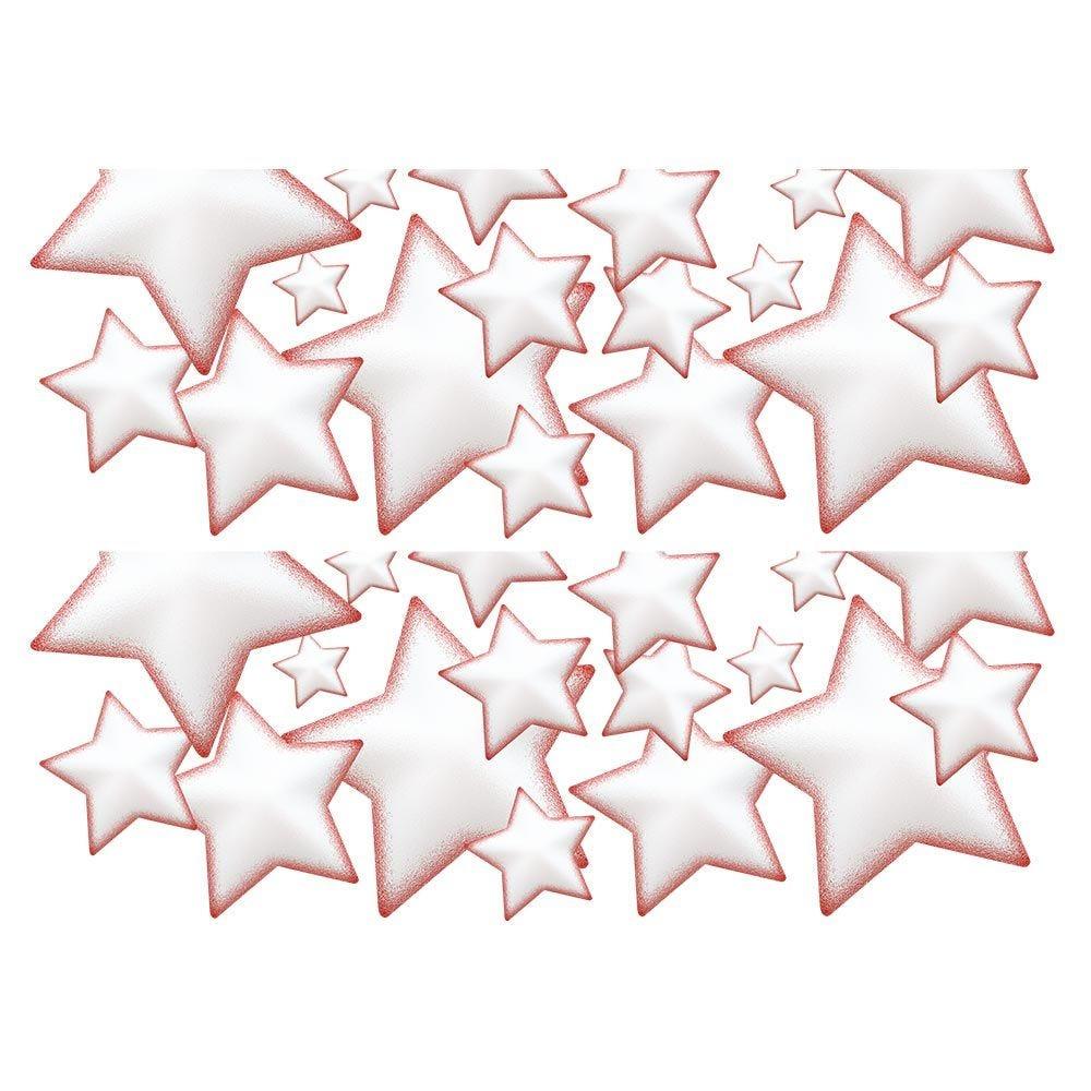 Vitrophanie  frises d'étoiles givre rouge - 70 x 100 cm