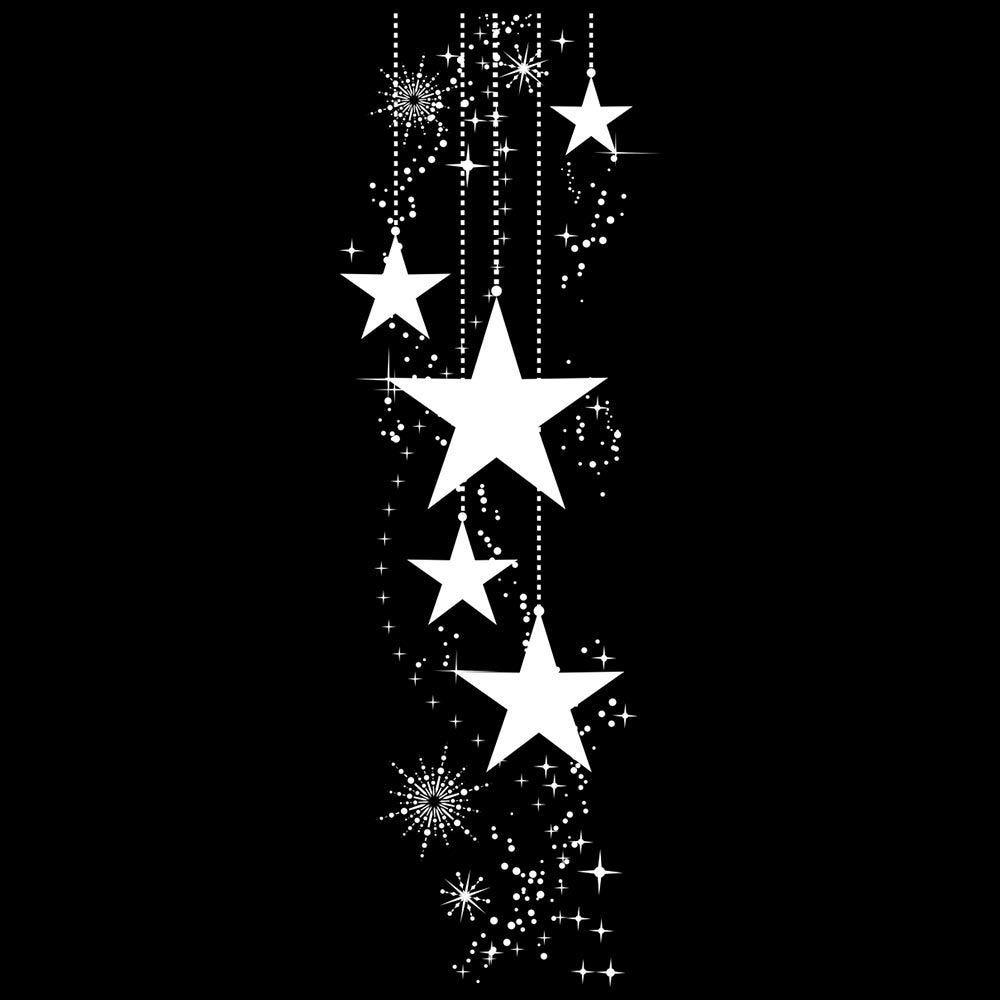 Vitrophanie suspension d'étoiles et cristaux - 32,3 x 98 cm