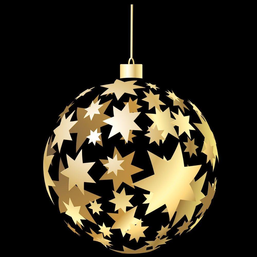 Vitrophanie grosse boule étoilée dorée - 68 x 98 cm