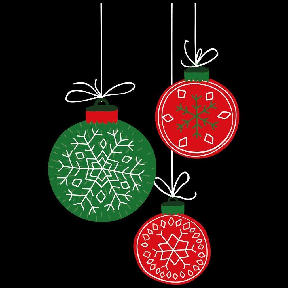 Vitrophanie petite suspension boules rouges et vertes - 46 x 68 cm
