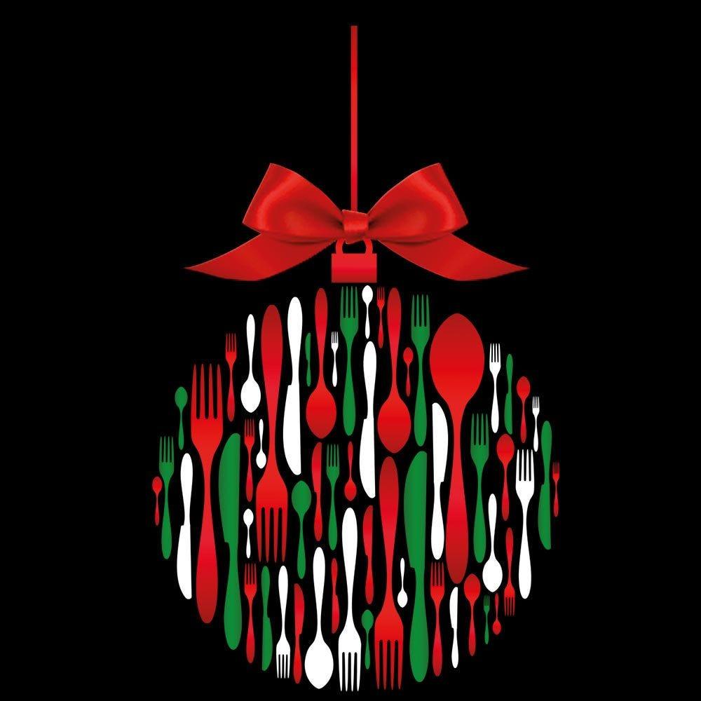 Vitrophanie petite boule en couverts de Noël - 41,6 x 68 cm