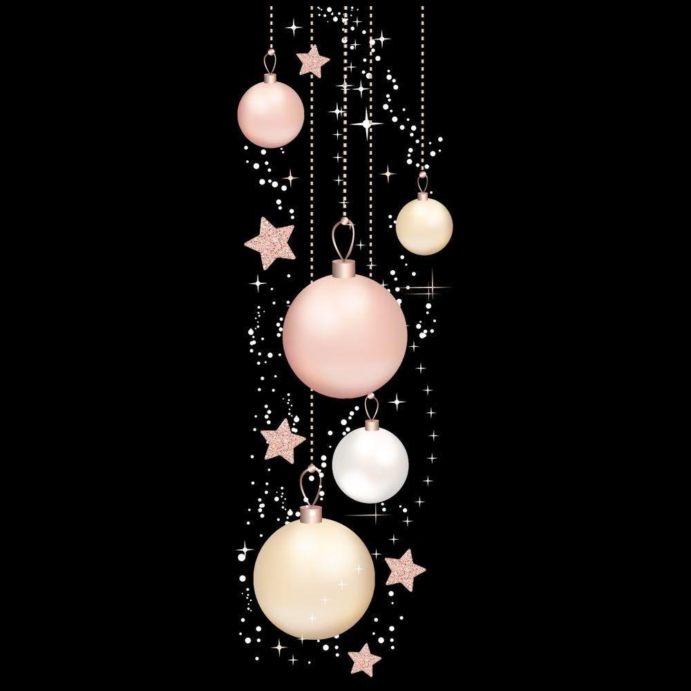 Vitrophanie suspension de boules et étoiles géante - 65,3 x 200 cm
