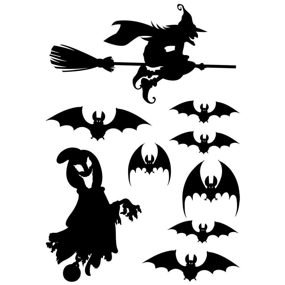 Vitrophanie silhouettes noires d'Halloween - 70 x 100 cm