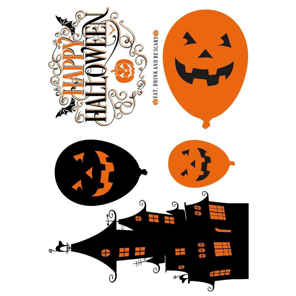Vitrophanie silhouettes noires et orange d'Halloween - 70 x 100 cm
