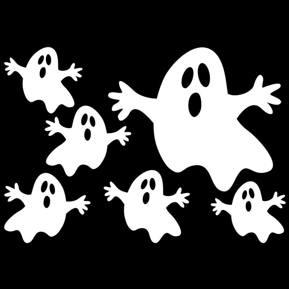 Vitrophanie petits fantômes blancs - 70 x 100 cm