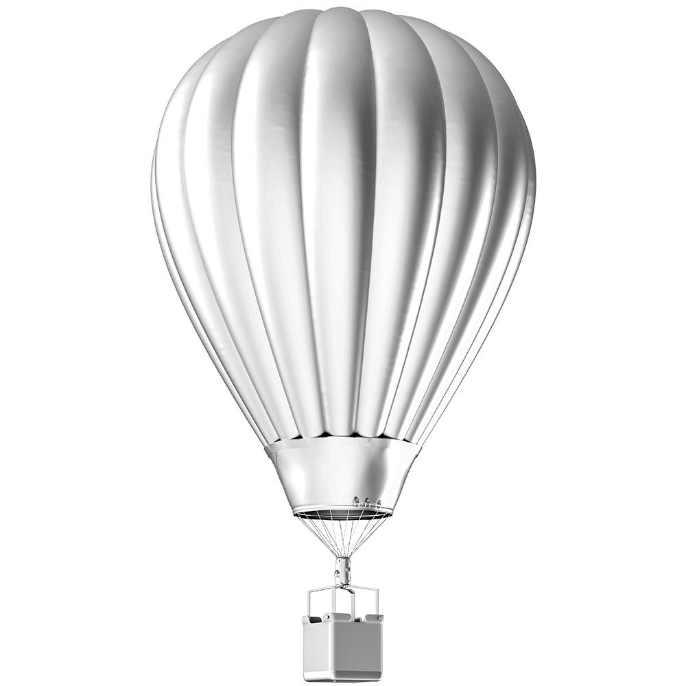 Vitrophanie montgolfière argentée moyenne - 33 x 57,6 cm