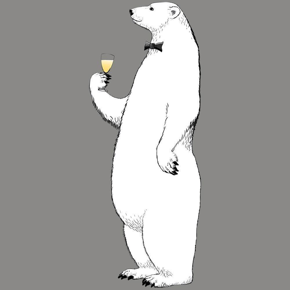 Vitrophanie ours polaire réveillon droit - 68 x 173,6 cm