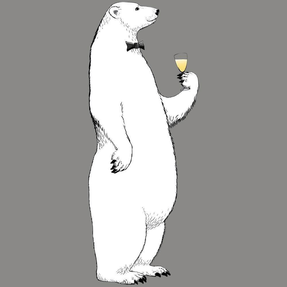 Vitrophanie ours polaire réveillon gauche - 68 x 173,6 cm
