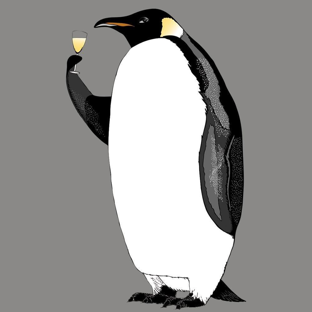 Vitrophanie pingouin réveillon droit - 58,6 x 98 cm