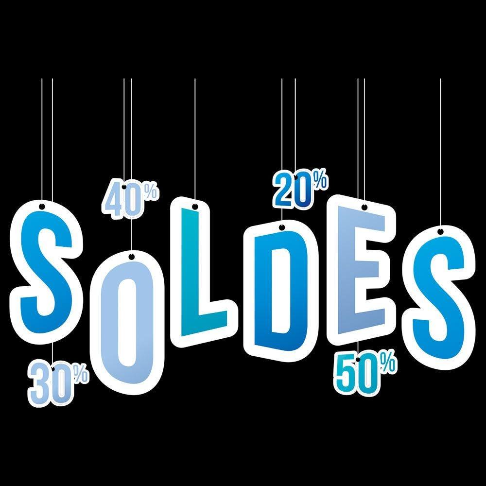 Vitrophanie soldes pourcentages bleu - 68 x 96 cm