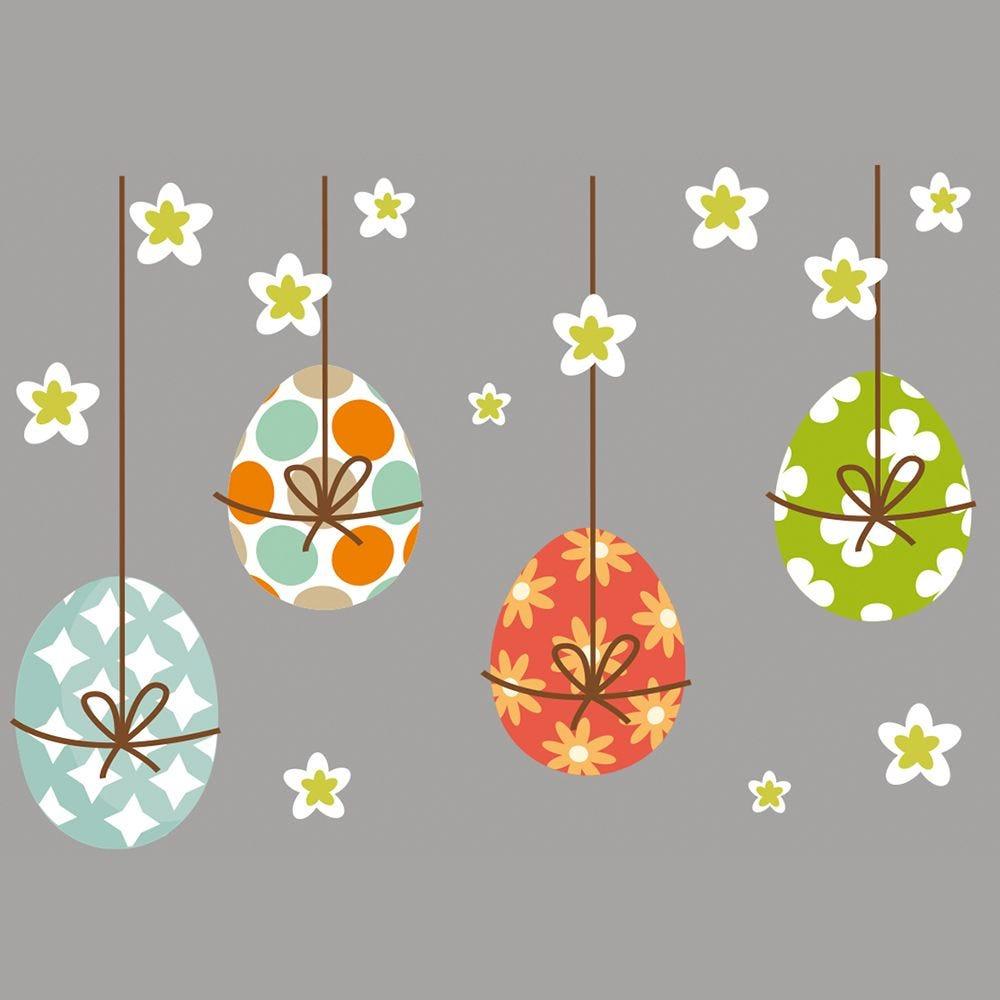 Vitrophanie frise d'œufs suspendus et fleurs - 68 x 96,3 cm