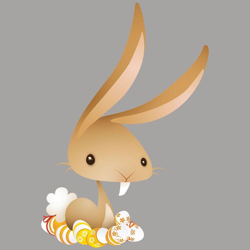 Vitrophanie lapin nid d'œufs de Pâques - 67 x 98 cm