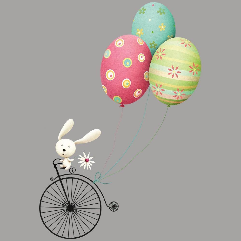 Vitrophanie lapin bicyclette ballons œufs de Pâques - 67 x 98 cm