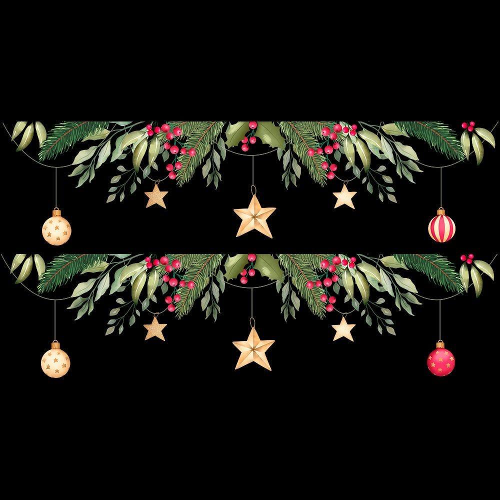Frises de boules, étoiles et pin - 54 x 100 cm