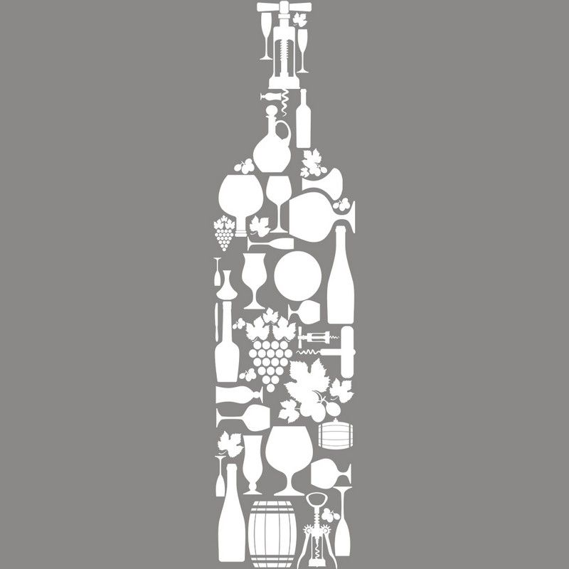 Vitrophanie caviste bouteille en accessoires - 24,5 x 98 cm