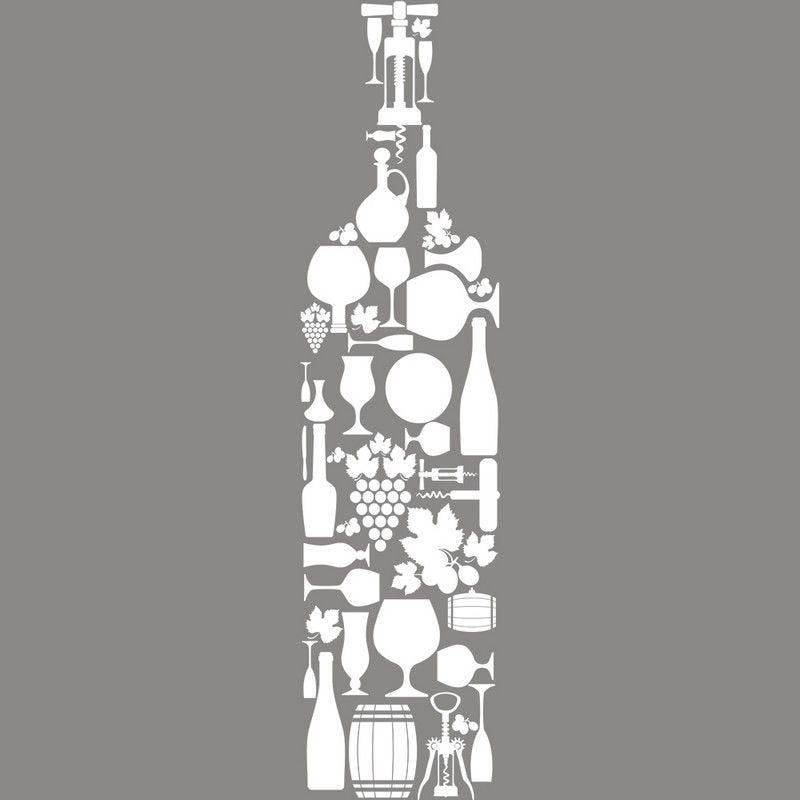 Vitrophanie caviste bouteille en accessoires - 33,7 x 135 cm