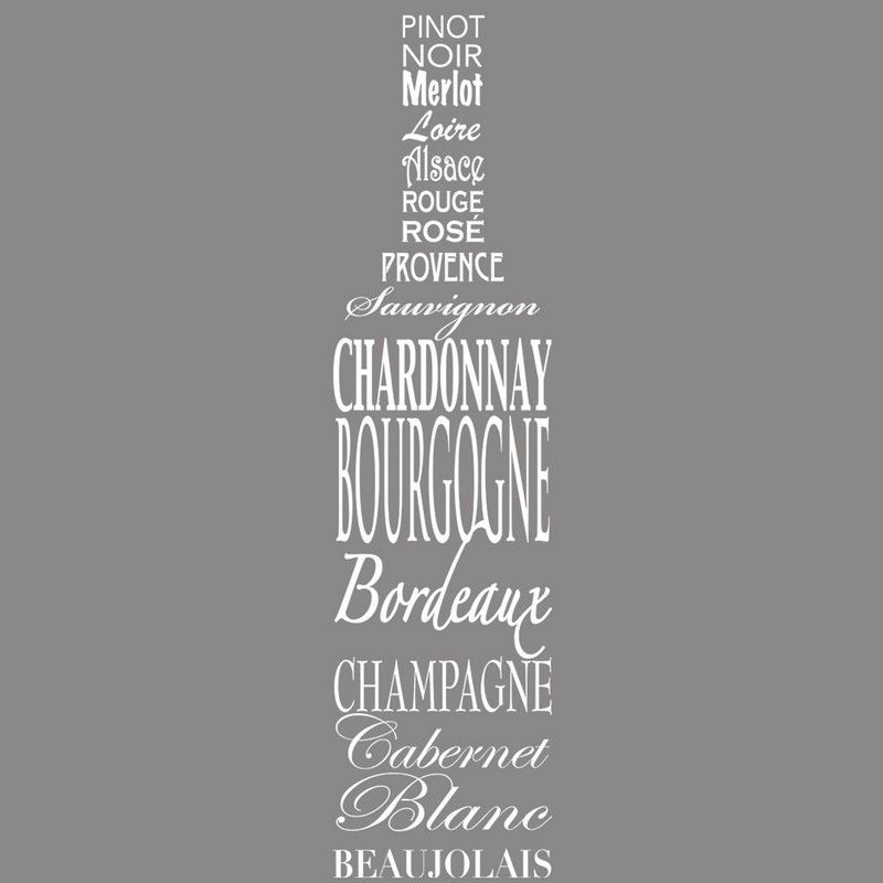 Vitrophanie caviste bouteille en noms de vins - 32,5 x 135 cm
