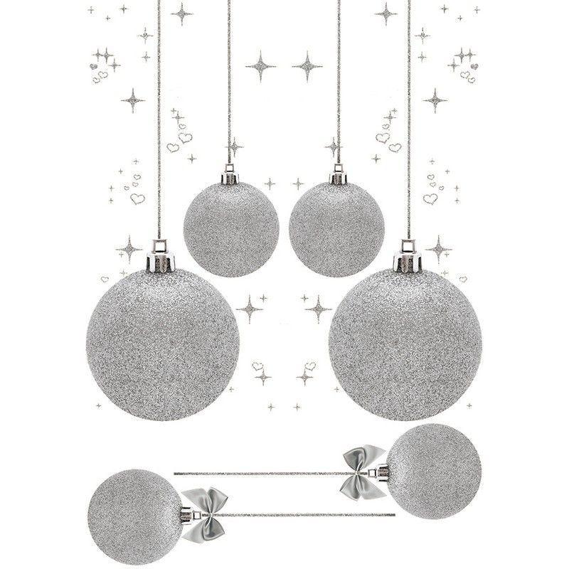 Vitrophanie boules de noël argent - 70 x 100 cm