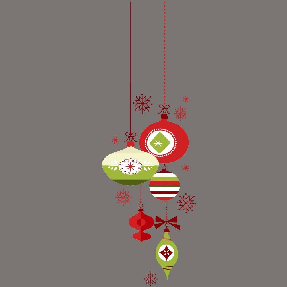 Vitrophanie suspension de boules de noël  - rouge/vert-d- 32 x 98 cm