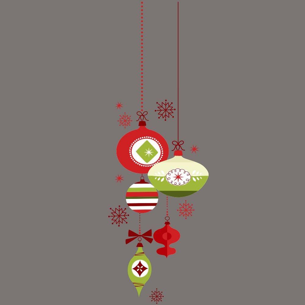 Vitrophanie suspension de boules de noël  - rouge/vert-g- 32 x 98 cm