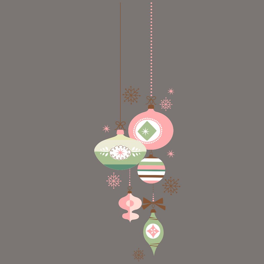 Vitrophanie suspension de boules de noël - rose/vert -d- 44,8 x 135 cm