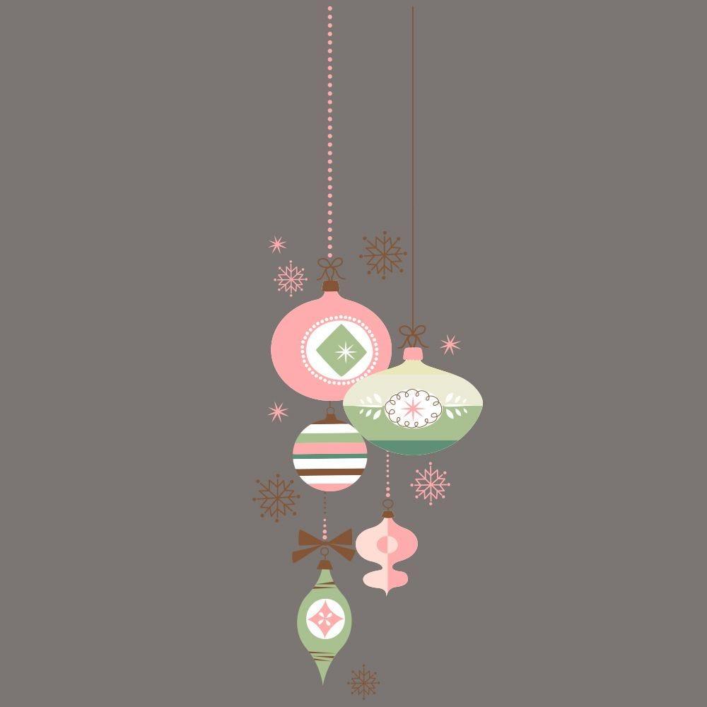 Vitrophanie suspension de boules de noël - rose/vert -g- 44,8 x 135 cm