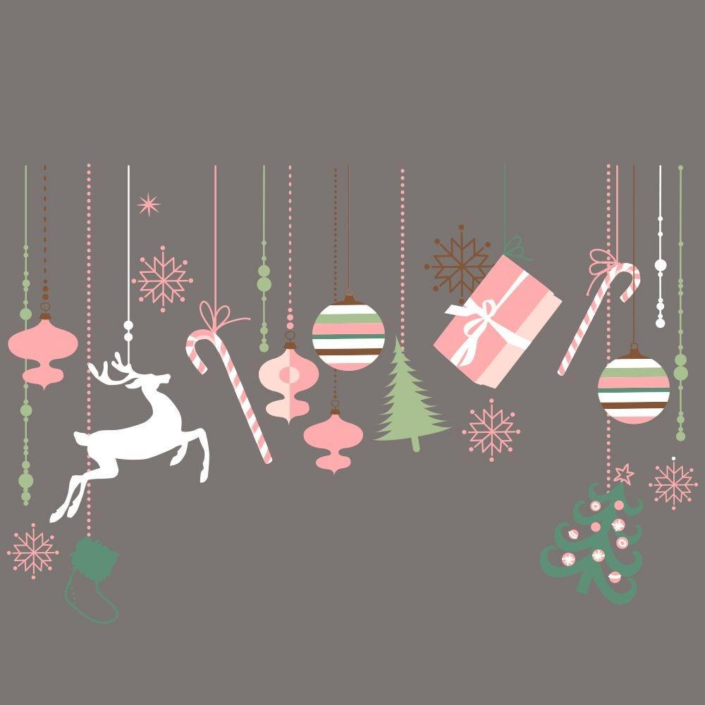 Vitrophanie suspensions de décors de noël rose/vert - 65 x 98 cm