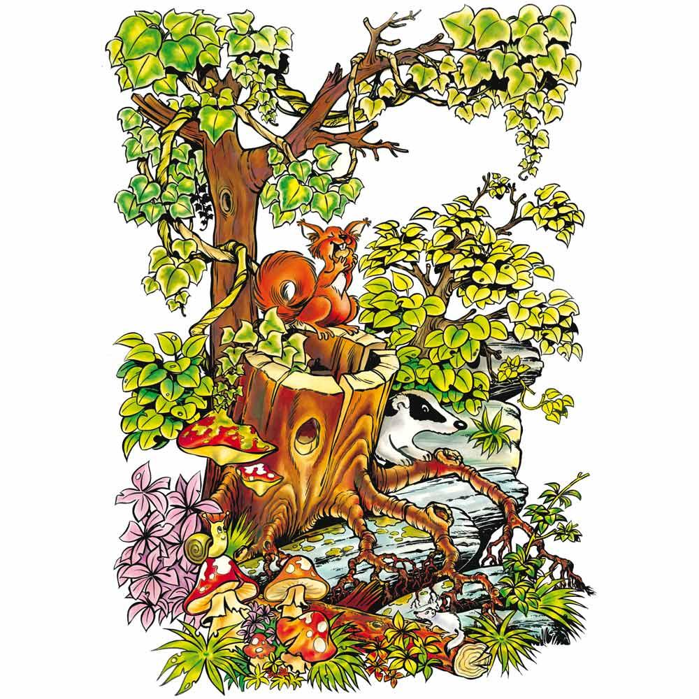 Vitrophanie écureuil printemps - 70 x 100 cm