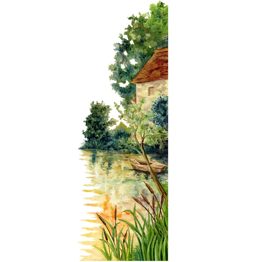 Vitrophanie campagne en automne - 68 x 195 cm