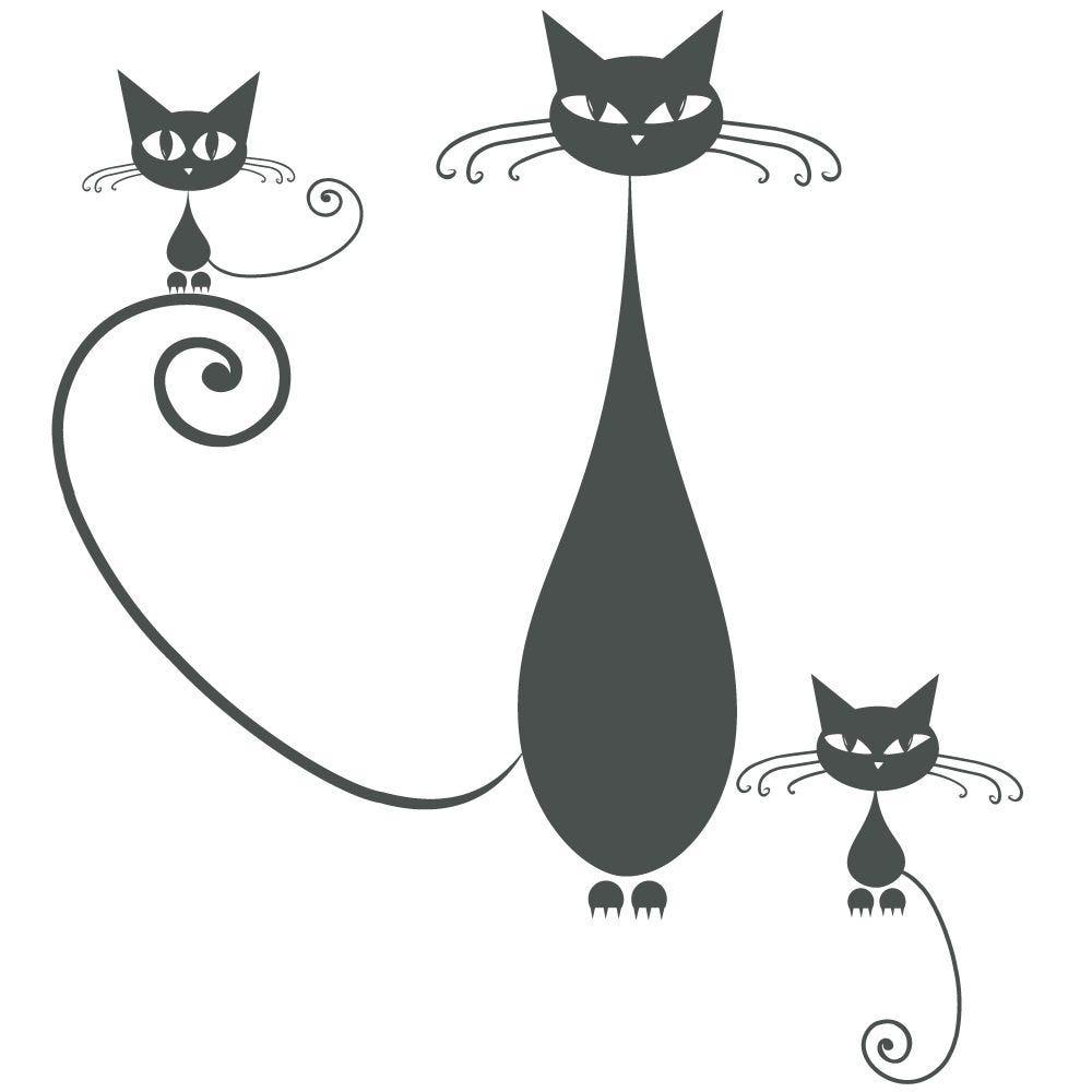 Sticker 3 chats gris foncé - 67,5 x 75 cm (photo)