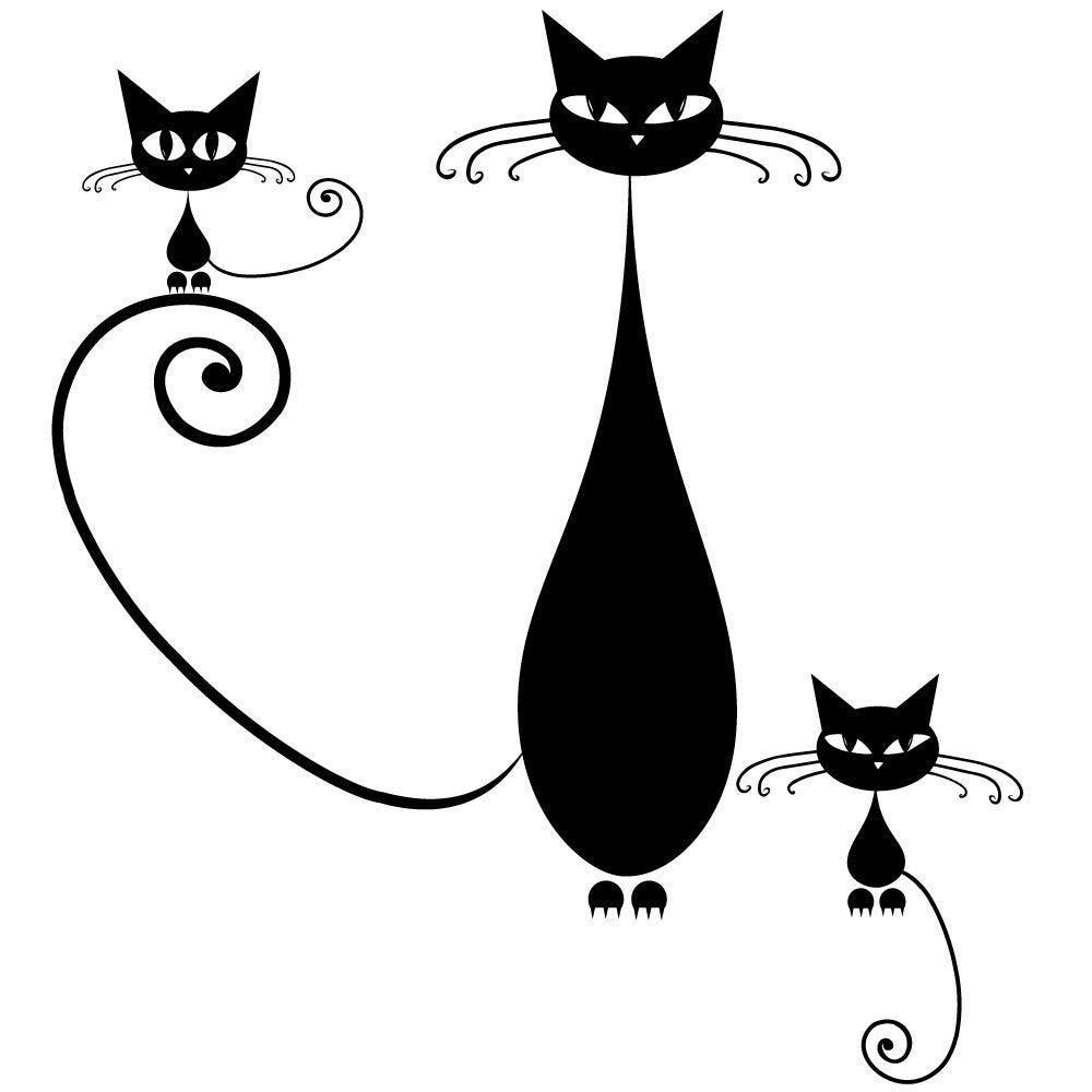 Sticker 3 chats noirs - 67,5 x 75 cm (photo)