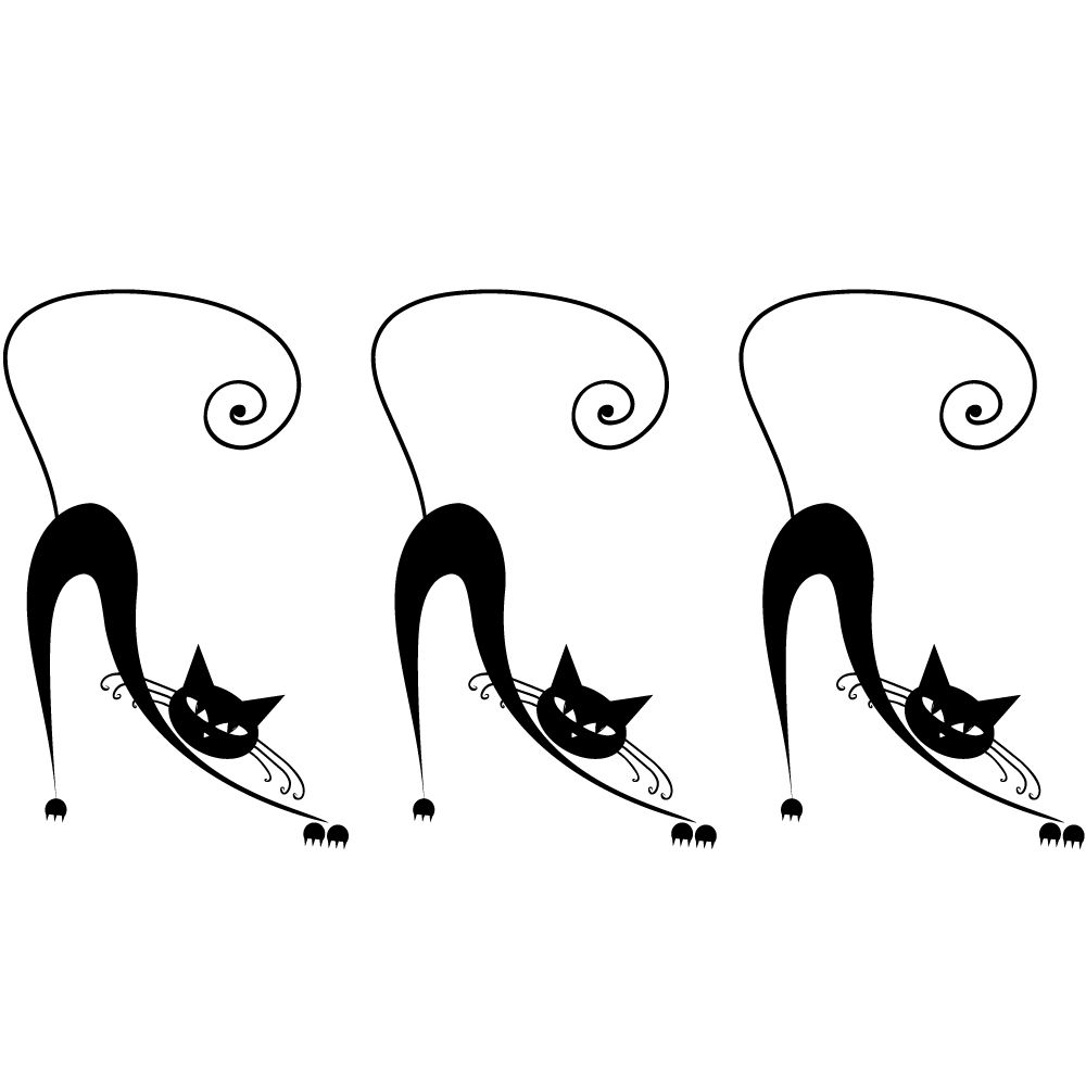 Sticker 3 chats noirs - 25 x 48 cm (photo)