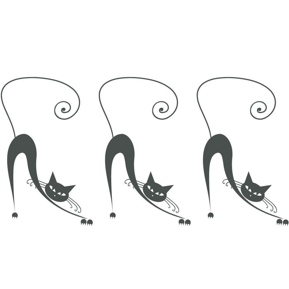 Sticker 3 chats gris foncés - 37,5 x 72 cm (photo)