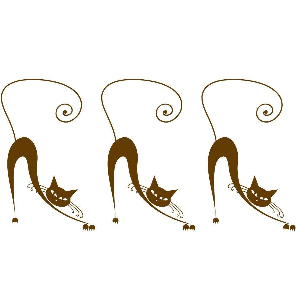 Sticker 3 chats marrons - 37,5 x 72 cm (photo)