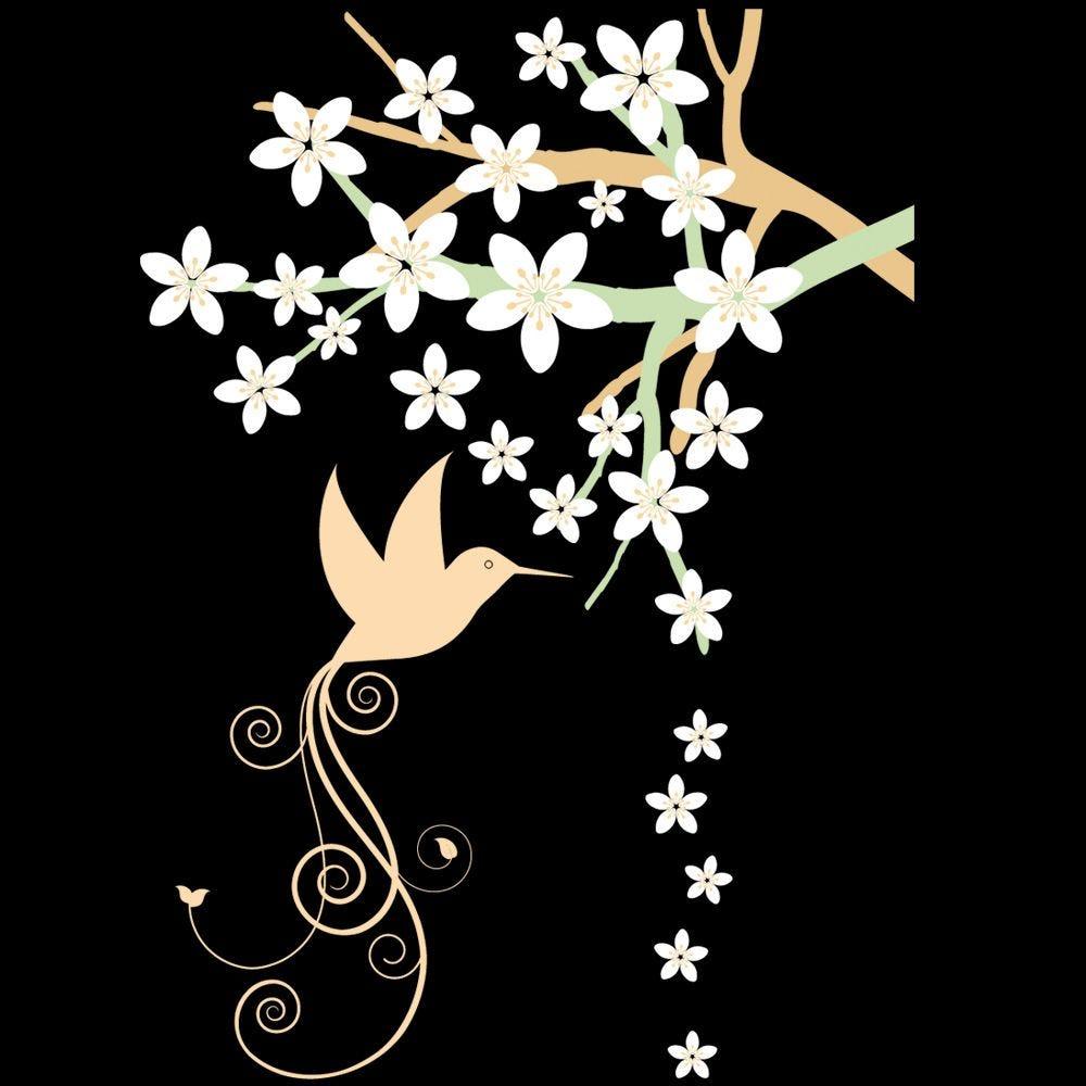 Vitrophanie branche en fleurs ext. Droit - 70 x 100 cm