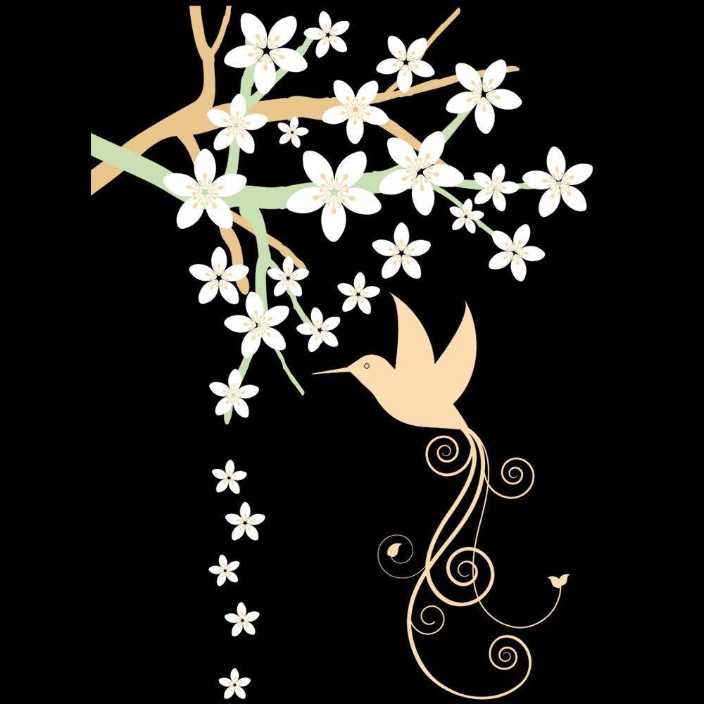 Vitrophanie branche en fleurs ext. Gauche - 70 x 100 cm