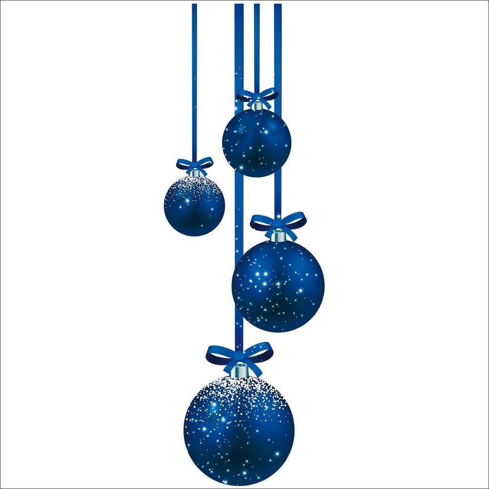 Vitrophanie suspensions de boules bleues droit - 32,8 x 98 cm