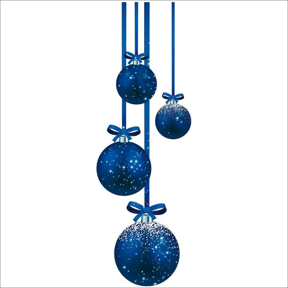 Vitrophanie suspensions de boules bleues gauche - 32,8 x 98 cm