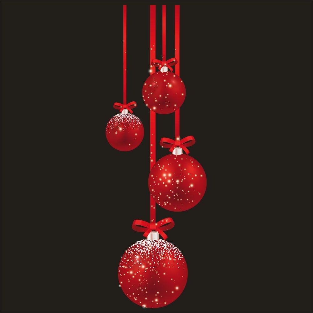 Vitrophanie suspensions de boules rouges droit - 45 x 135 cm