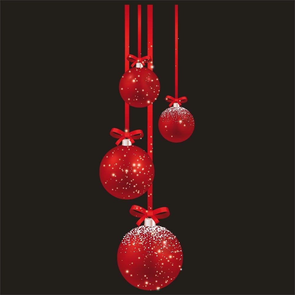 Vitrophanie suspensions de boules rouges gauche - 32,8 x 98 cm