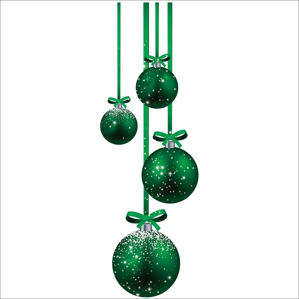 Vitrophanie suspensions de boules vertes droit - 32,8 x 98 cm