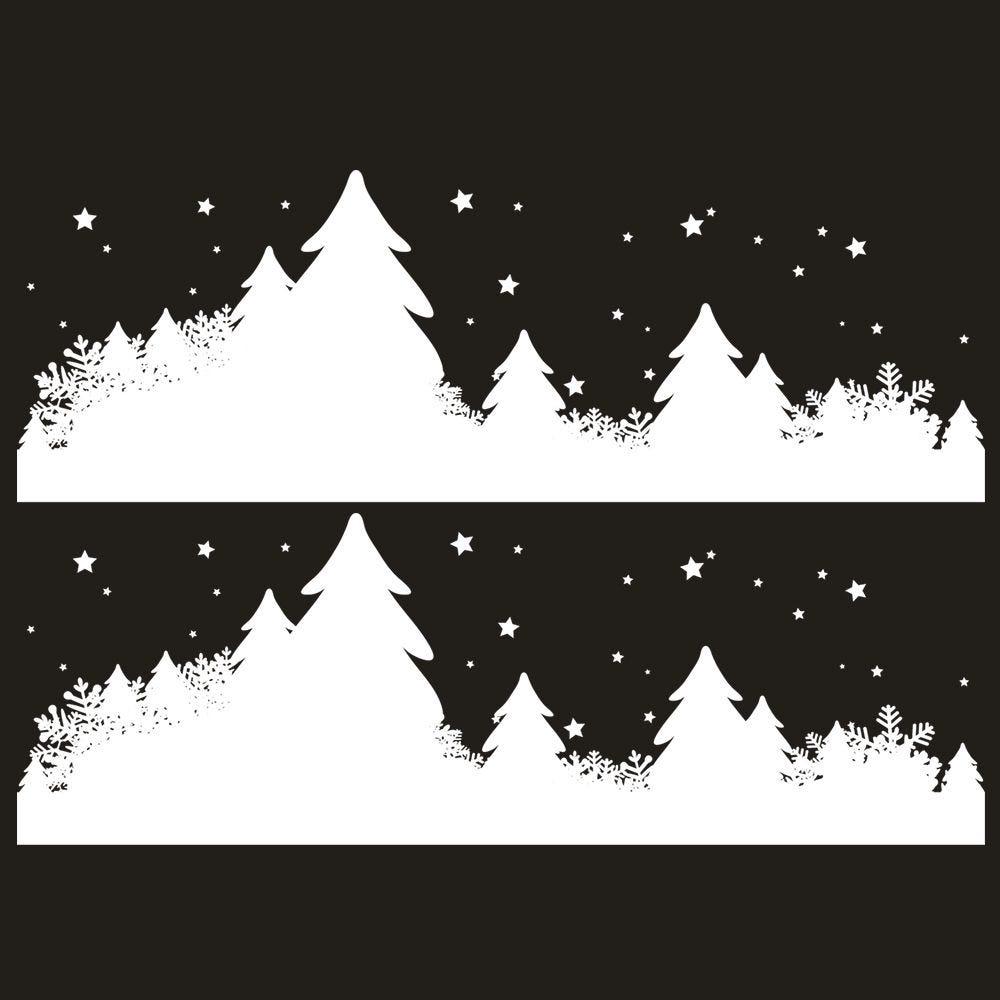 Vitrophanie frises de sapins et étoiles - 70 x 100 cm