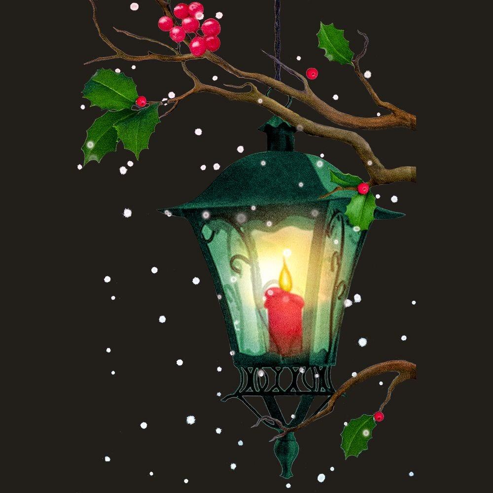 Vitrophanie lanterne et branches de houx droit - 68 x 97 cm