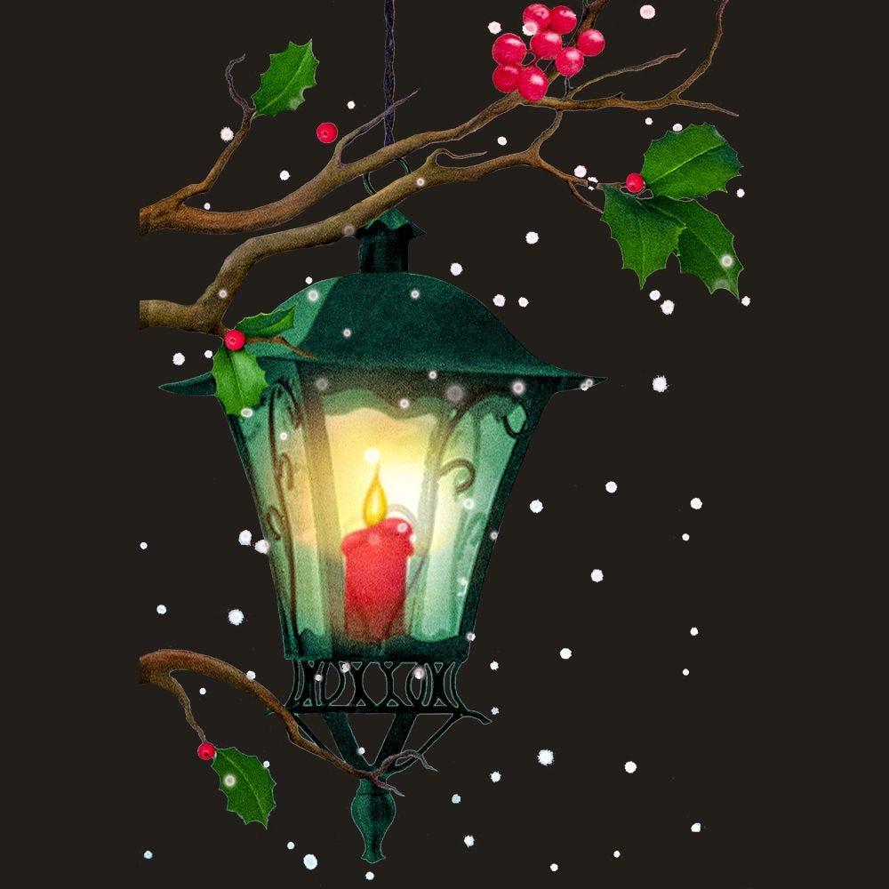 Vitrophanie lanterne et branches de houx gauche - 47,8 x 68 cm