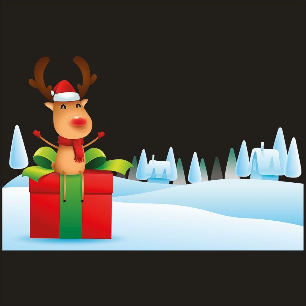 Vitrophanie renne cadeau paysage de neige - 63,3 x 98 cm