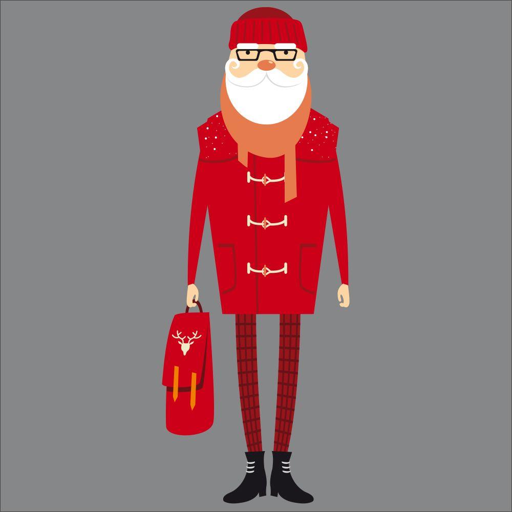 Vitrophanie père noël hipster rouge - 68 x 180 cm