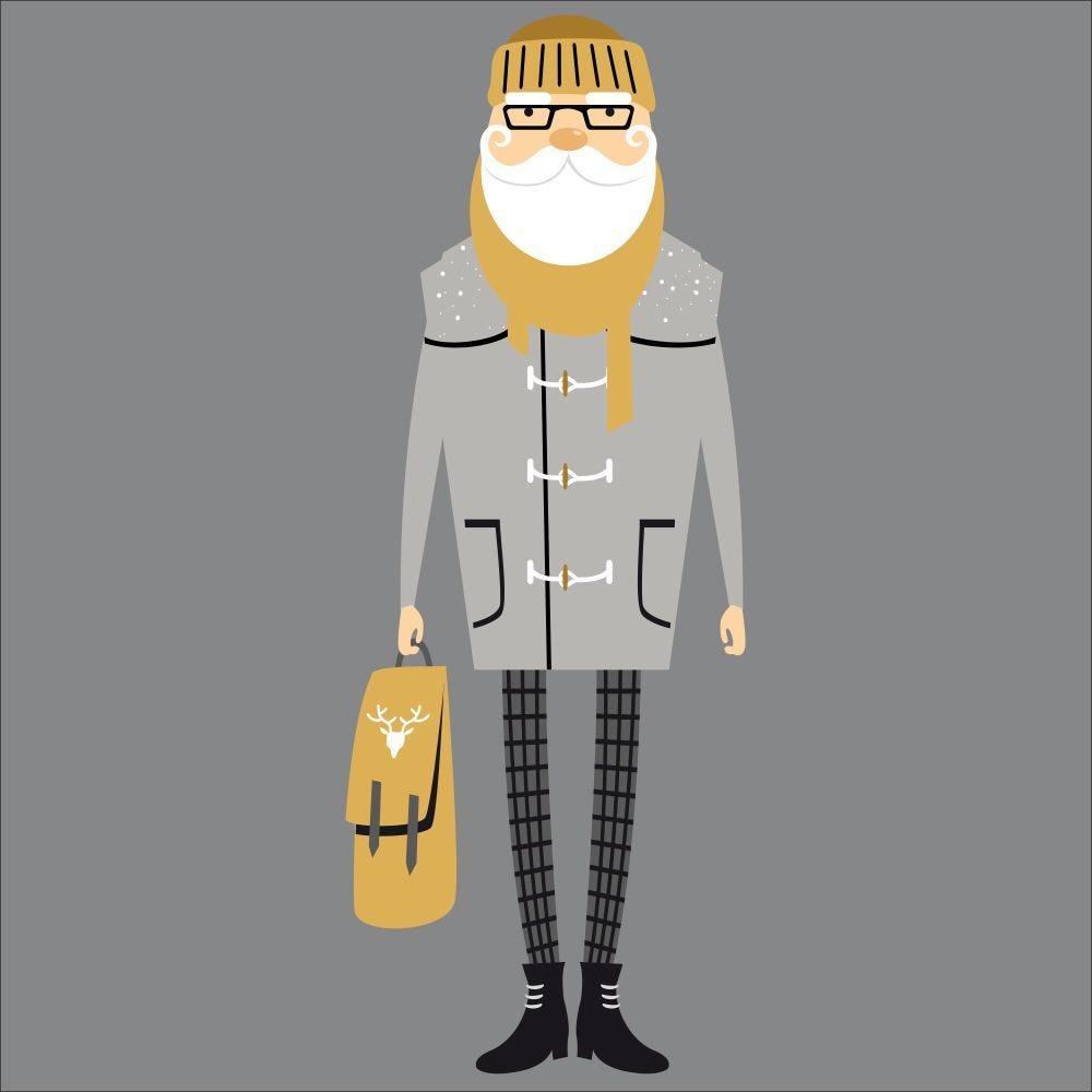 Vitrophanie père noël hipster gris - 68 x 180 cm