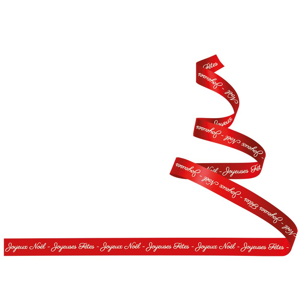 Vitrophanie sapin stylisé ruban textes droit - 67,3 x 98 cm