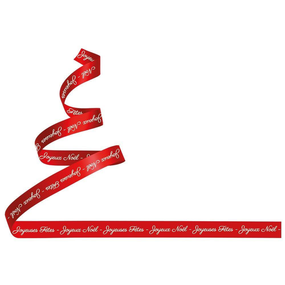 Vitrophanie sapin stylisé ruban textes gauche - 67,3 x 98 cm